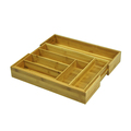 Kitchen Bamboo Expandable Cutlery Tray With 2 Adjustable Compartments Cutlery Organizer