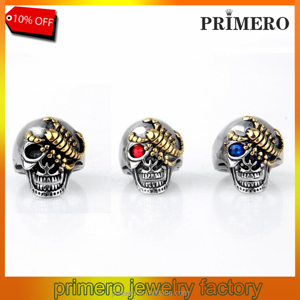 Fashion Mens Ring 316L Stainless Steel Cool Golden Scorpion Skull Ring Top Quality