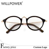 Vintage Decoration acetate Eyeglasses Frame round metal spectacles eyewear optical frames
