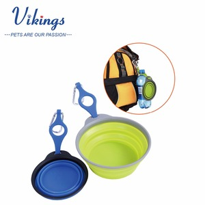 wholesale portable collapsible foldable silicone dog pet travel bowl feeder with free carabiner clip dog water bowl