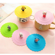 Food Grade Silicone Rubber Coffee Cup Lid, Custom Cartoon Silicone Cup Cover