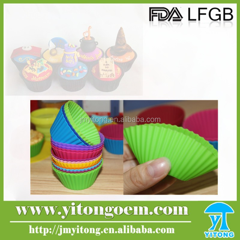 New design Eco-friendly colorful round shape cupcake / silicone teacup cupcake