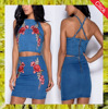 2017 Fashion High quality embroidery flower patch women sexy denim dress ladies wears wholesale china