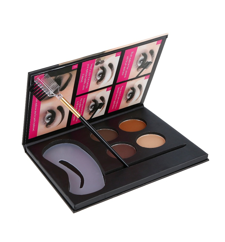 good quality cardboard 4 colors high pigment longwearing eyebrow makeup eyebrow powder with 3 eyebrow stencil and brush