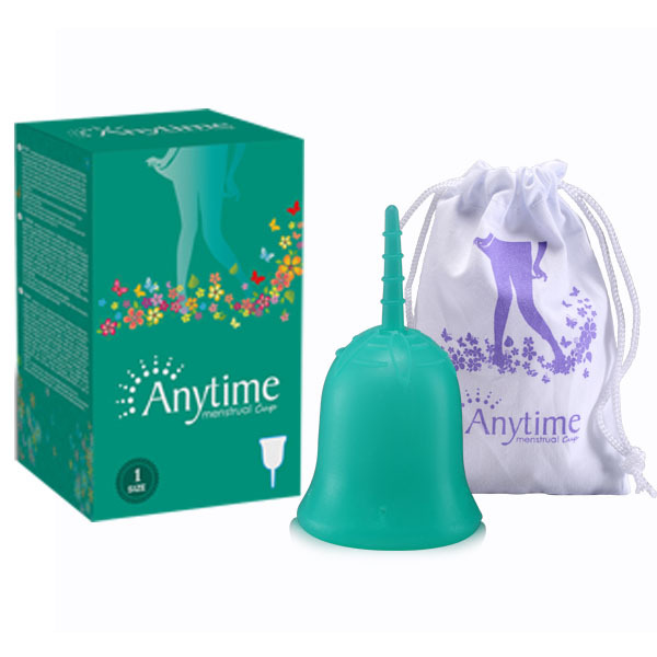 Anytime International Brand Soft Menstrual Silicone Period Cup Large Size and S Size for Feminine Hygiene