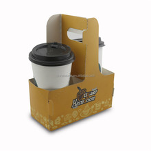 Reusable white cardboard coffee paper cup holder with handle for 2 cups