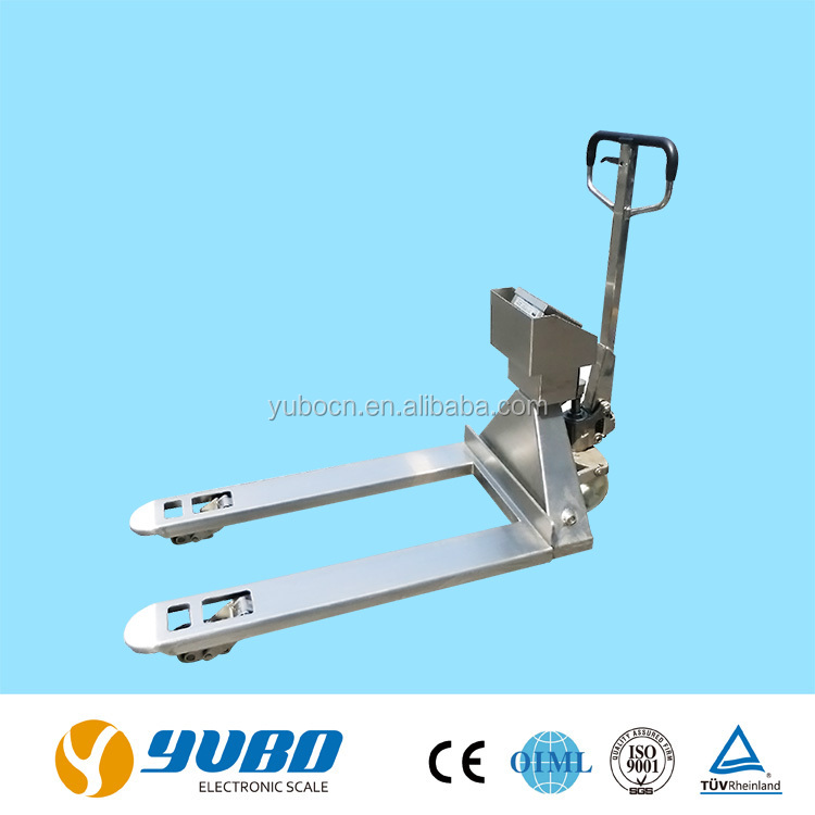 Hand pallet truck with weighing scale in stainless steel material