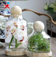 Portable Wood Base And Glass Body For Flower Vases or Other Green Plant Decoration