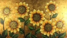 Heavy texture gold leaf sunflower large framed oil painting