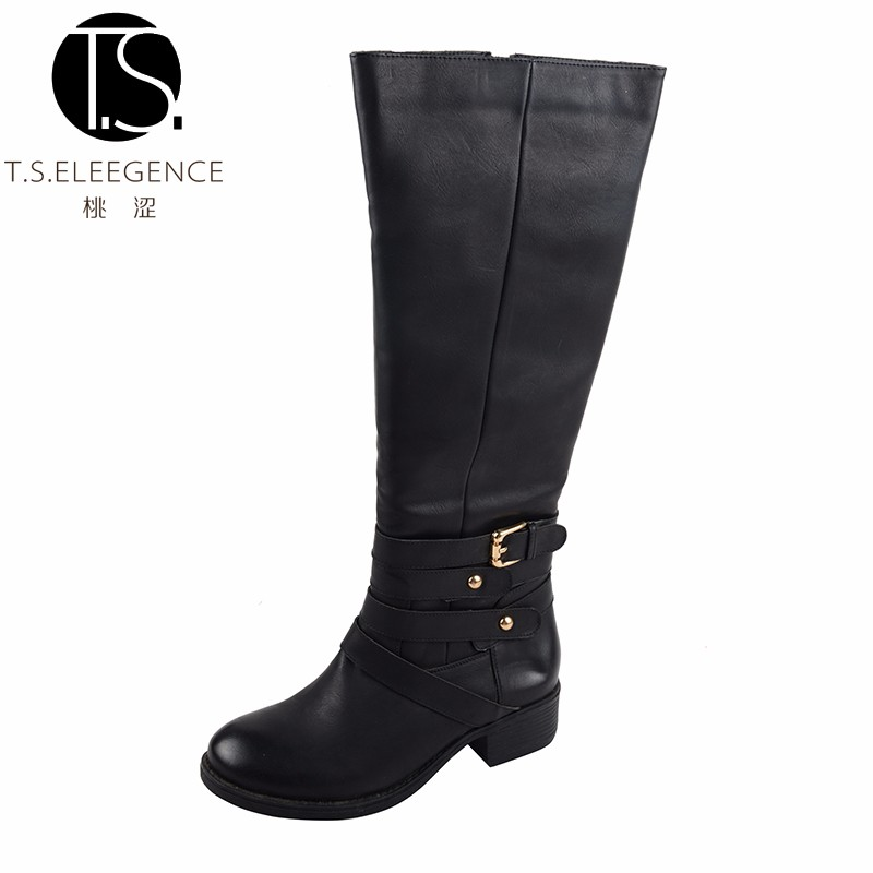 Latest Fashion Sexy Genuine Leather Black Women Heeled Knee Boots