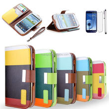 2015 Original Rainbow Stripe Color Contrast Wallet PU Leather Case for iphone 6 credit card case factory price