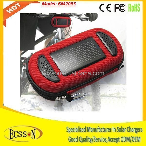 Fashion portable 2000mah usb power bank mini solar charger, solar bag with speaker for music
