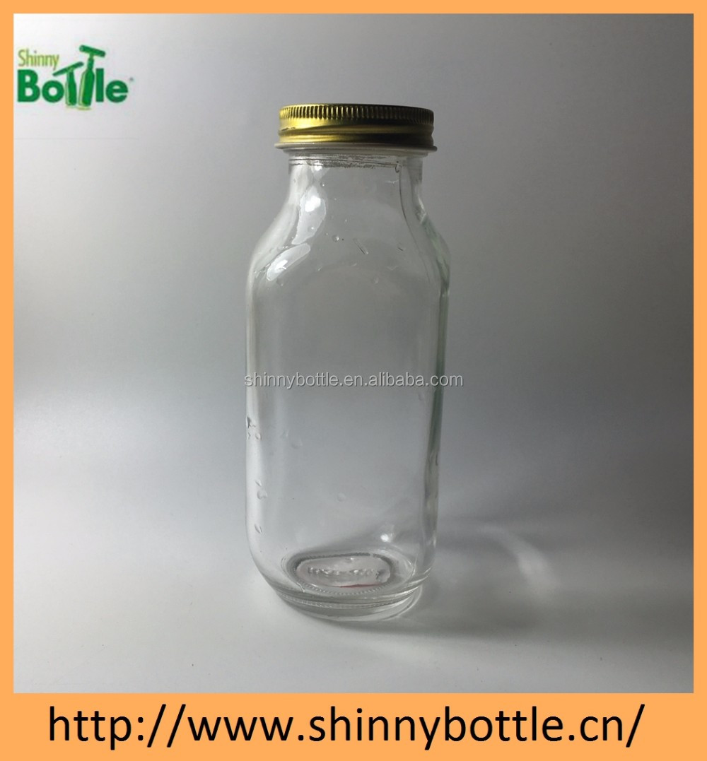 Empty 350ml 1000ml French Square Glass Beverage Bottle with Metal Cap