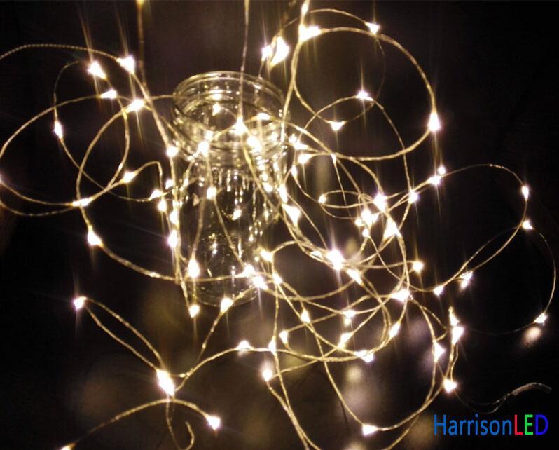 5M 50 LED 12V DC warm white silver wire micro mini string lights ...
