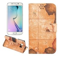 hot new products for 2015 map design leather Wallet case for Galaxy S6 edge
