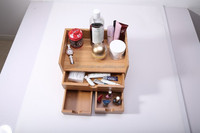 Bamboo Desk Organizer Storage Box MakeUp Case