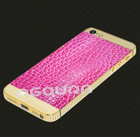 Hot selling genuine leather 24k gold plating mobile phone housing for iphone 5s housing case cover