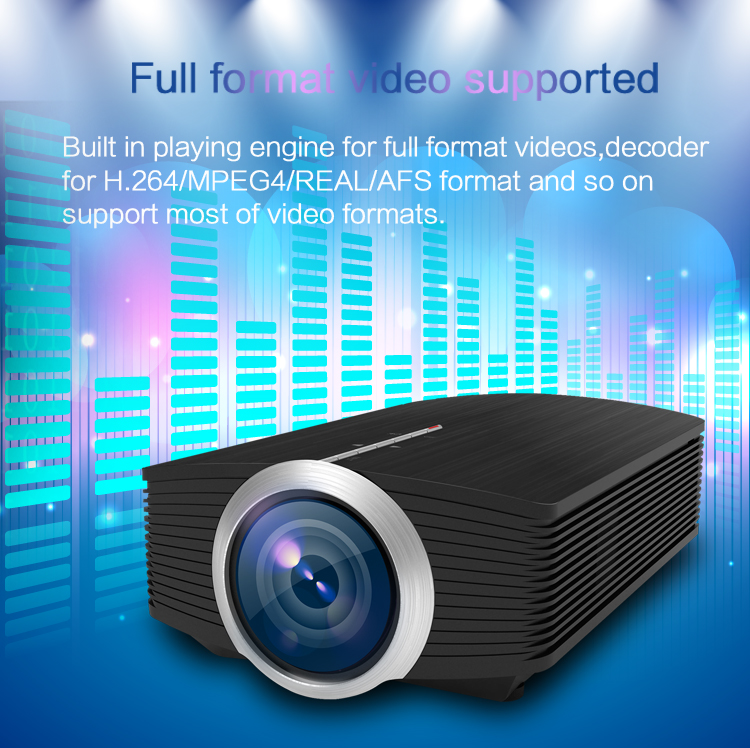 MINI Portable LED Projector 800*480 1200Lumens support TV stick, USB, Memory card For Video Games Home Theater