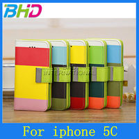 For iPhone 5c flip Leather Case with rainbow color card slot