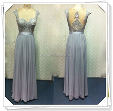 Latest Fashion Design High-end Cap Sleeve Sweetheart Tulle Lace Beaded Crystal Silk Grey Color Evening Dress