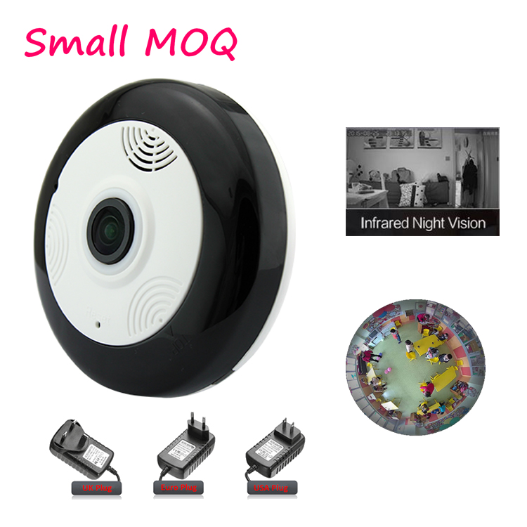 Best selling unique network 960P Black low price ip fisheye panoramic camera 360 fisheye degree with local record and screenshot