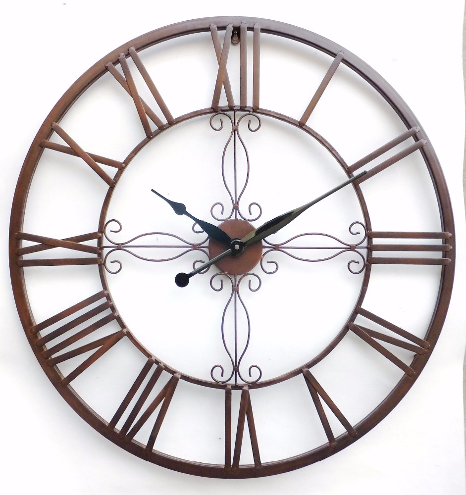 Old style Art Craft Round Vintage Metal Wall Clock