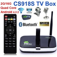China Supplier Android 4.4 CS918S TV Box Allwinner A31 Quad Core 1+8gb TV Box With 2.0MP Camera