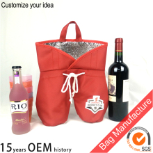 red portable bottle insulated wine tote bag / wine carrying cooler bag