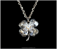 White gold plating saint patrick theme crystal four leaves clover necklace
