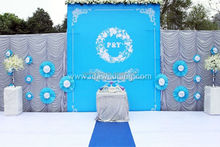 ice silk royal blue wedding stage background curtain decoration