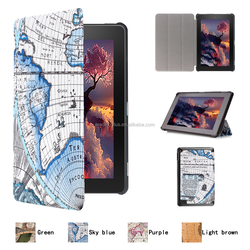 high quality map leather case for kindle new fire 7
