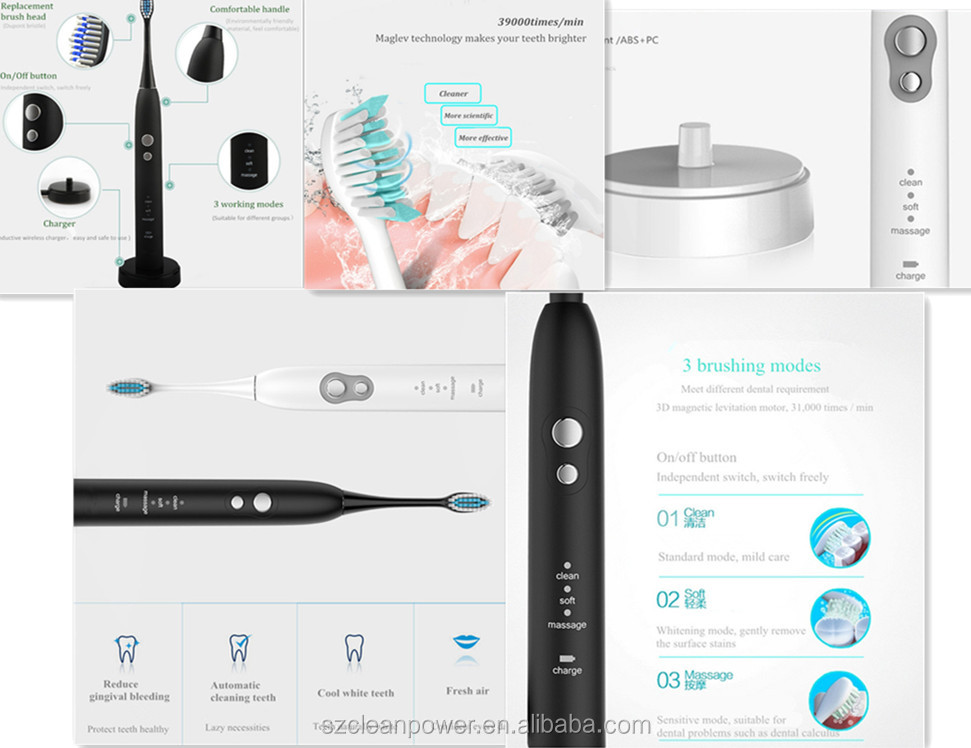 China Unique Patented electric toothbrush Rechargeable Sonic Electric Toothbrush 3 Brush Head Design