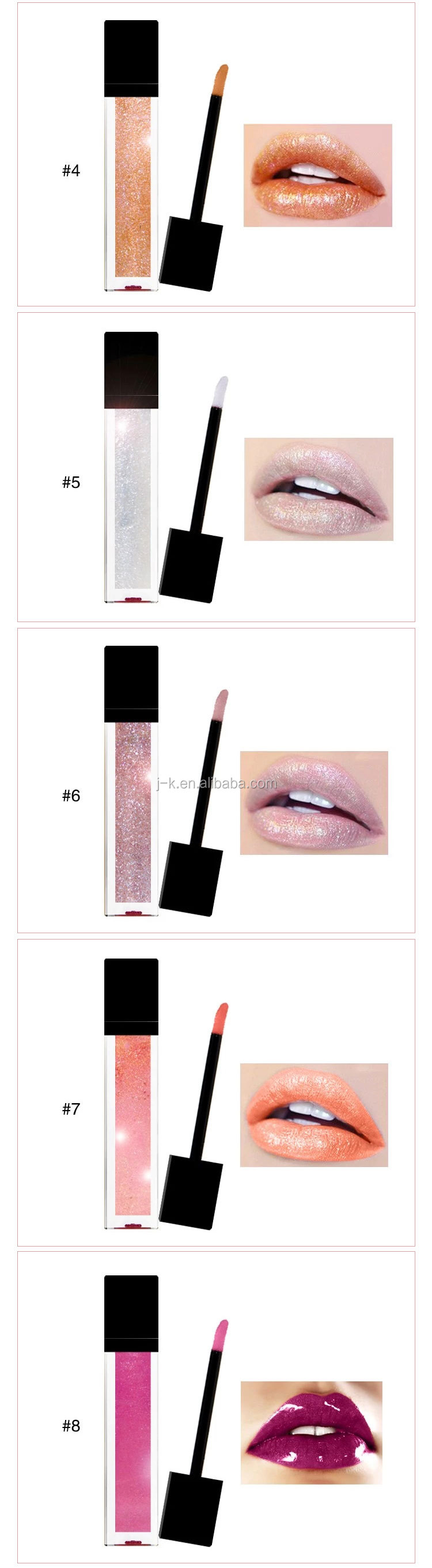 Wholesale Private Label 11 Colors Glitter Cosmetics Lipgloss Makeup Lip Gloss Tube No Labels With Gift Box