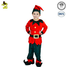 Kids Red Elf Costumes Boys Christmas Carnival Party Chili Fairy Role Play Suits Loveable Elfin Clothes for Party Decoration
