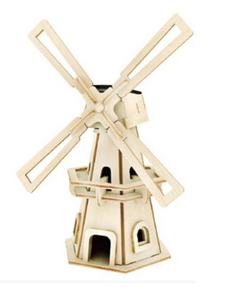 Educational 3D Wooden Building Puzzle Solar Power Windmill Toy