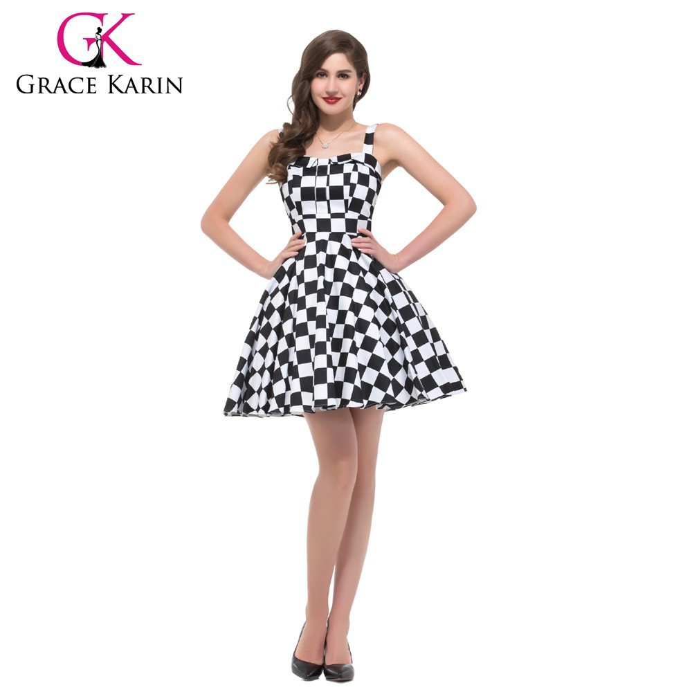 Grace Karin Sleeveless Polka Dots Short 50s Style Dress Cotton Formal Vintage Dresses CL6093-7#