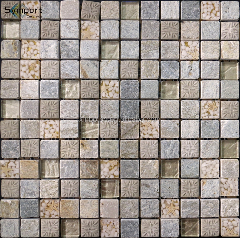 Glass Mix Ceramic Mosaic Tiles, Art Design Glass Mix Stone Mosaic Tile