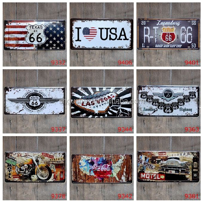 USA Texas Route 66 Las Vegas Decorative Licence Plate Vintage number plate metal sign for Bar Pub Club Home Cafe Restaurant