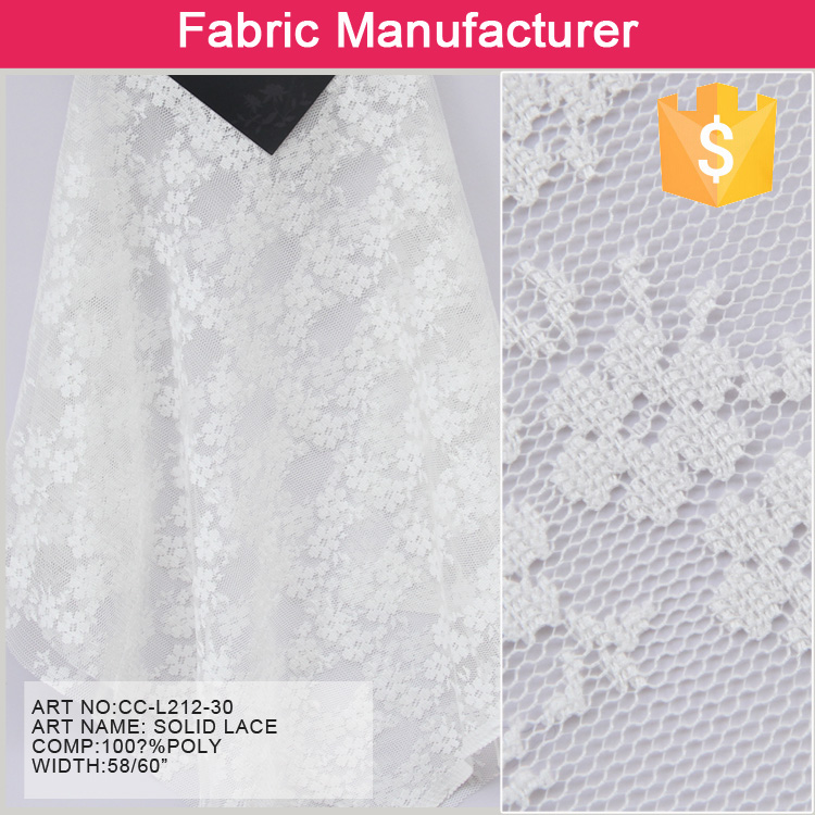 White color fashion style high end new indian polyester custom lace fabric