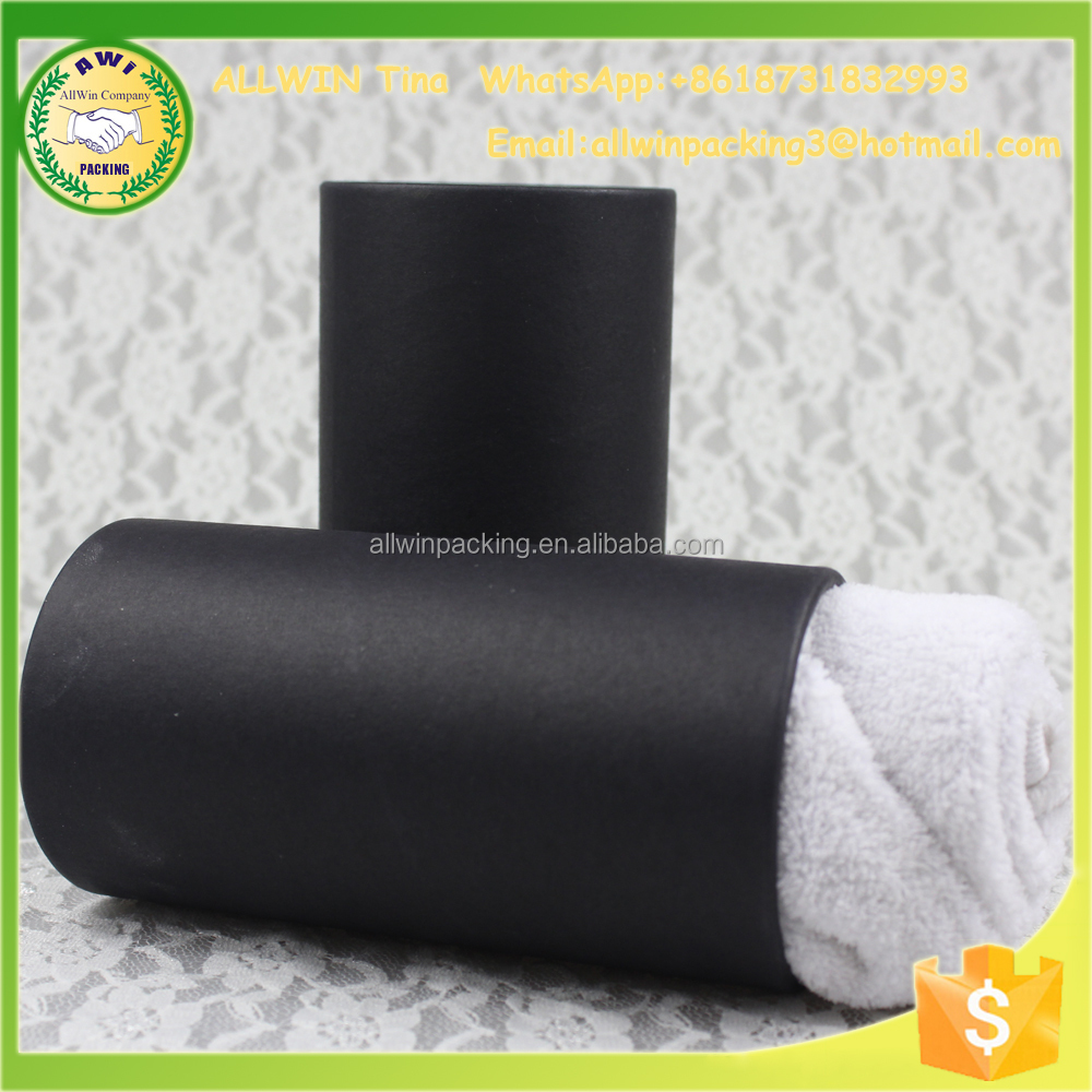 AWI wrapping paper tubes black t-shirt packaging box kraft paper tube