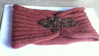 Good sell wool knitted head band with jewery decoration
