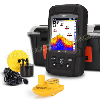 LUCKY rechargeable Fishfinder Sonar Transducer 2-in-1 Wired & Wireless Sensor Portable Waterproof Fish Finder FF718LiC