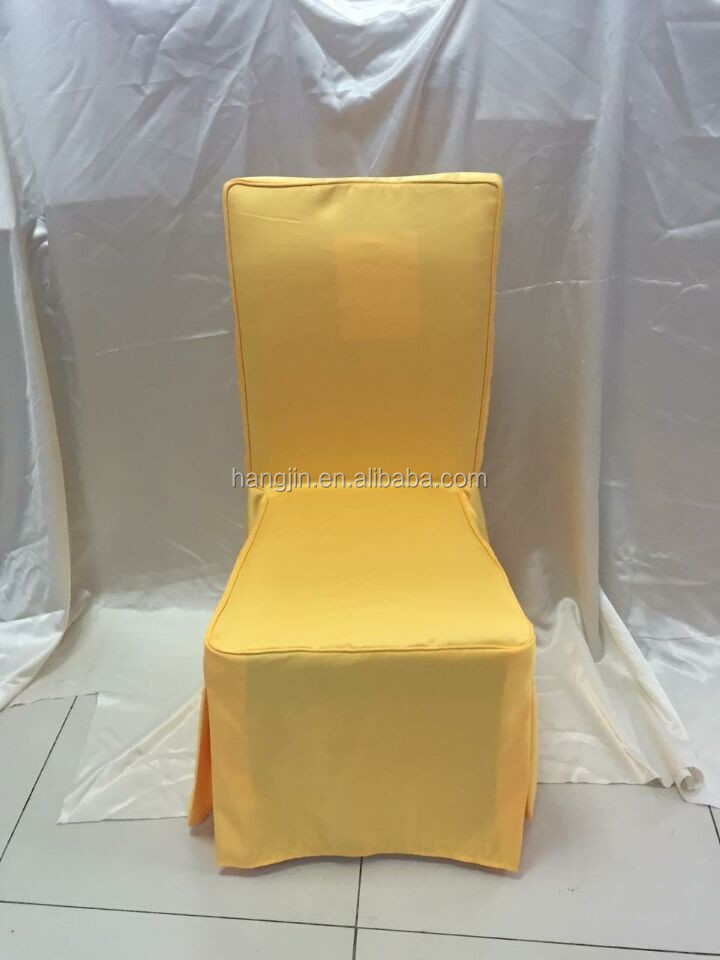 Polyester Jacquard Dining Room Chair Cover Yellow Color Banquet Hall Covers Customized Size