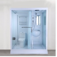 China Modern glass door Dormitory Shower Room with portable toilet
