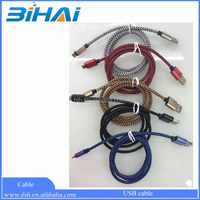 3m 2m 1m nylon braided micro usb 5 pin male mini data cable for iphone 6 retail package offer