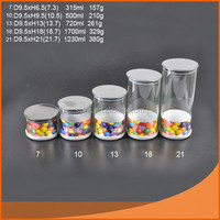 high borosilicate Glass canister with lid and metal clip glass jar with lid