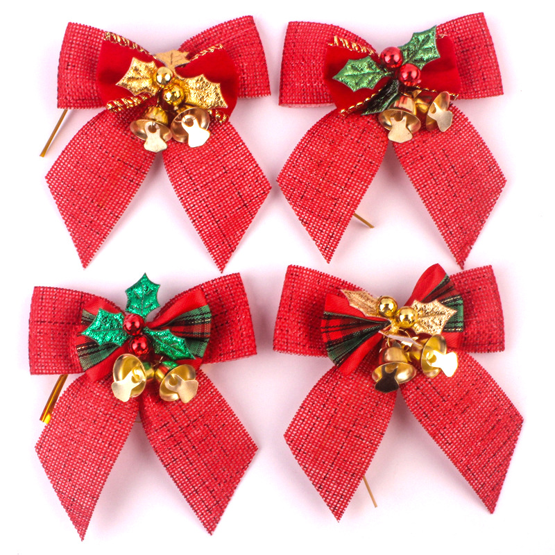 Wholesale With Bell For Tree Dog Linen Silk Red Bow <strong>Christmas</strong>