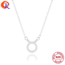 Simple 100% 925 Sterling Silver CZ Taurus Zodiac Pendant Necklaces For Women Long Chain Necklace Party Jewelry CDSN-0055