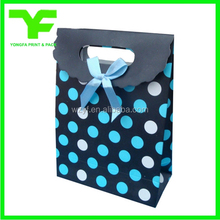 Factory production luxury ribbon tie die cut handle paper bag
