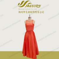 Halter long evening dress chiffon sleeveless special design red elegant